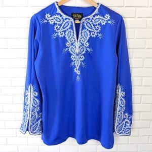Bob Mackie Embroidered Blue Tunic R1